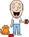 Cartoon Man Feeding Cat Royalty Free Stock Image