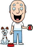 Cartoon Man Feeding Dog Royalty Free Stock Photography