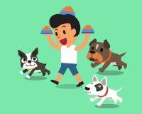 Cartoon man feeding dogs Royalty Free Stock Image