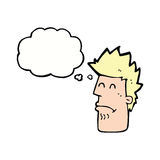 cartoon man feeling sick with thought bubble Royalty Free Stock Photo