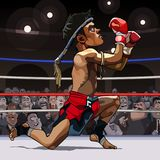Cartoon man fighter muay thai in the ring. Cartoon man fighter muay thai got on one knee in the ring Stock Images