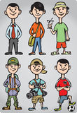 Cartoon man figures in various leisure activities Royalty Free Stock Photography