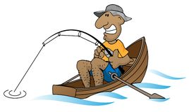 Cartoon man fishing in boat vector illustration. Funny cartoon fisherman in boat relaxing vector graphic illustration stock illustration