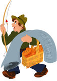 Cartoon man with fishing rod gray carpet and basket Stock Photo