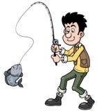 Cartoon man fishing Stock Photos