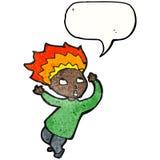 Cartoon man with flaming hair Stock Photo