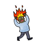 Cartoon man with flaming hair Royalty Free Stock Photo