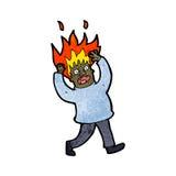 Cartoon man with flaming hair Royalty Free Stock Photo