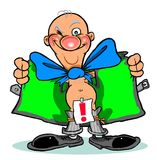 Cartoon man flashing. Cartoon caricature of man flashing with open trench coat and exclamation point Stock Photo