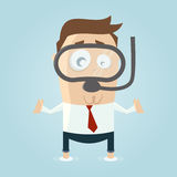 Cartoon man in flood with diving goggles Stock Photography