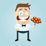 Cartoon man with flower bouquet Royalty Free Stock Image