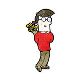 Cartoon man with flowers Stock Photography