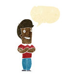 Cartoon man with folded arms grinning with speech bubble Royalty Free Stock Image