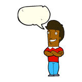 Cartoon man with folded arms grinning with speech bubble Royalty Free Stock Photography