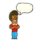 Cartoon man with folded arms grinning with speech bubble Stock Photography