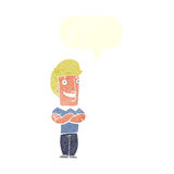 Cartoon man with folded arms grinning with speech bubble Royalty Free Stock Photo
