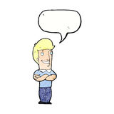 Cartoon man with folded arms grinning with speech bubble Royalty Free Stock Images