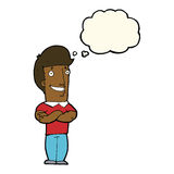 Cartoon man with folded arms grinning with thought bubble Stock Image
