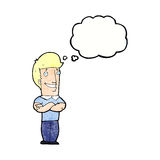 Cartoon man with folded arms grinning with thought bubble Stock Photo