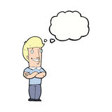 Cartoon man with folded arms grinning with thought bubble Royalty Free Stock Image