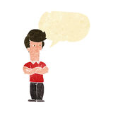 cartoon man with folded arms with speech bubble Stock Photo