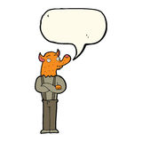 Cartoon man with fox head with speech bubble Royalty Free Stock Images