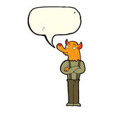 Cartoon man with fox head with speech bubble Stock Images