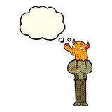 Cartoon man with fox head with thought bubble Stock Images