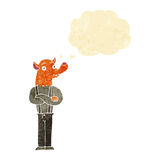 Cartoon man with fox head with thought bubble Royalty Free Stock Images