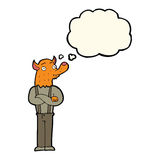 Cartoon man with fox head with thought bubble Royalty Free Stock Photography