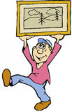 Cartoon Man with Framed Picture. A cartoon man holding up a framed picture Stock Photography