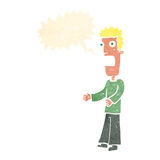 Cartoon man freaking out with speech bubble Royalty Free Stock Photography