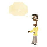 Cartoon man freaking out with thought bubble Royalty Free Stock Photos