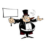 Cartoon man in a frock coat with a sign in his hand. Royalty Free Stock Image