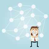 Cartoon man in front of a big network Stock Images