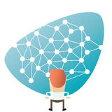 Cartoon man in front of a big network. Illustration of a cartoon man in front of a big network Stock Image