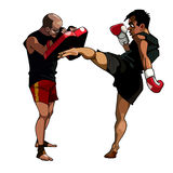 Cartoon man fulfills kick paired with a man who keeps paws boxing Royalty Free Stock Photo