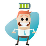 Cartoon man with full battery. Cartoon illustration of a man with full battery Royalty Free Stock Photos