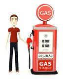 Cartoon man with gas station Royalty Free Stock Photography