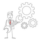 Cartoon man with gears and wrench Royalty Free Stock Photo