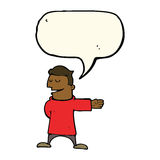cartoon man gesturing direction with speech bubble Stock Images