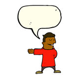 cartoon man gesturing direction with speech bubble Royalty Free Stock Photo
