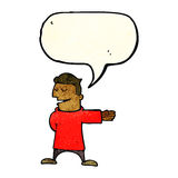 Cartoon man gesturing direction with speech bubble Stock Image