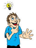 Cartoon man gets a bright idea. Royalty Free Stock Images