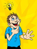 Cartoon man gets a bright idea. Stock Images