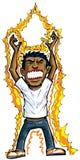 Cartoon of man getting energy Stock Image