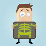 Cartoon man is getting x-ray examination Royalty Free Stock Image
