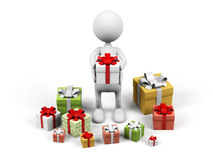 Cartoon man with gift. Royalty Free Stock Photography
