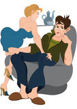 Cartoon man and girl on the chair Stock Photography
