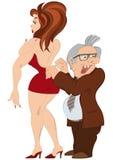 Cartoon man and girl in red dress Stock Photos